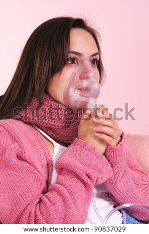 portrait of a girl with breathing mask
