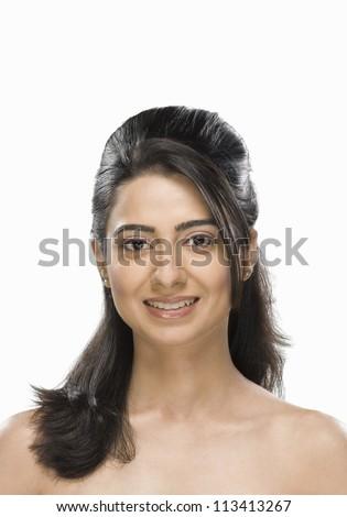 Portrait of a gorgeous fashion model smiling