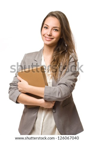Portrait of a gorgeous stylish happy young student woman.
