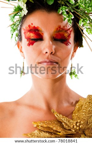 Portrait of a Greek goddess with eyes closed - isolated over white