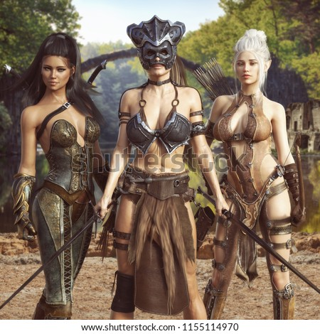 Stock Photo Portrait of a group of fantasy females embarking on an epic adventure.The warrior, elf archer,and scout assassin, 3d rendering