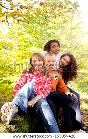 Portrait of a group of four diverse and mixed race teenagers friends sitting together and smiling in an autumn forest park during a sunny day in the fall season, outdoors.