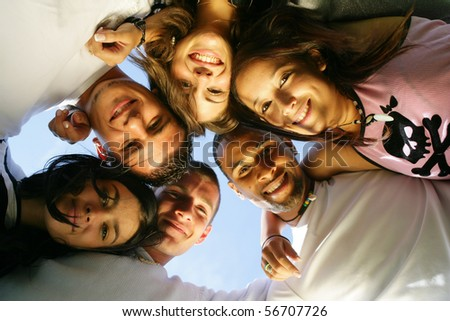 Portrait of a group of friends smiling