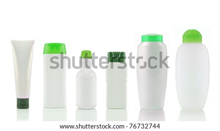 portrait of a group of product packaging