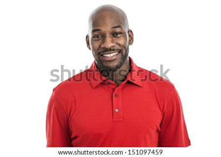 Portrait of a handsome black man in his 20s isolated on a white background - stock photo