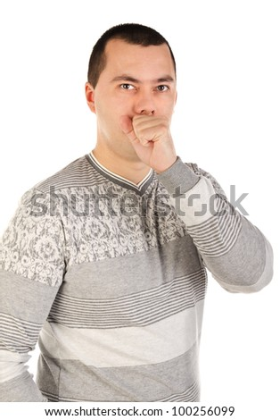 Portrait of a handsome coughing young man over white