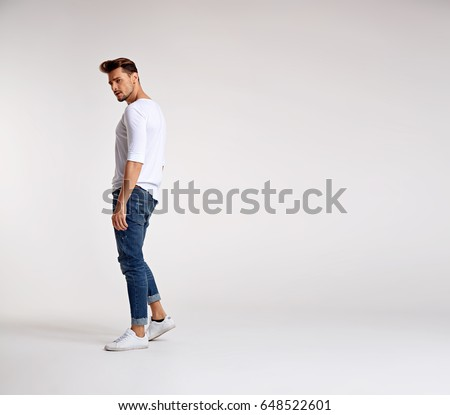 Portrait of a handsome, dark-haired guy #648522601