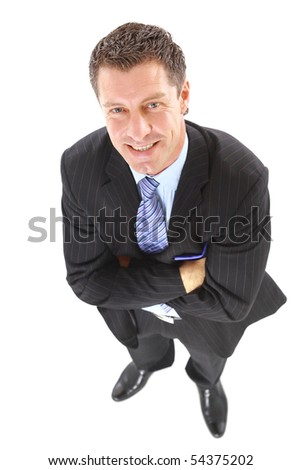 Portrait of a handsome elderly business man standing isolated on white background