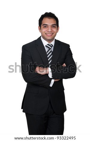 portrait of a handsome Indian businessman, Young Indian Businessman isolated on white - stock photo