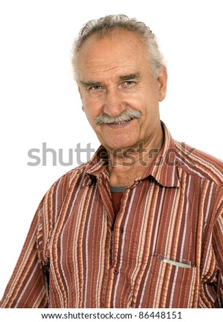 Portrait of a handsome, intelligent senior man. Isolated on white