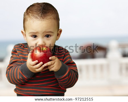 portrait of a handsome kid sucking a red apple near the beach