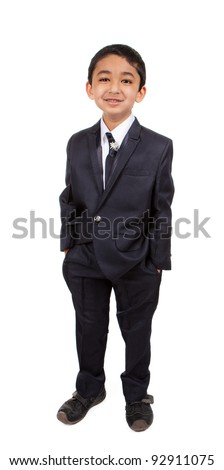 Portrait of a Handsome Little Boy in a Business Suit, Isolated, White - stock photo