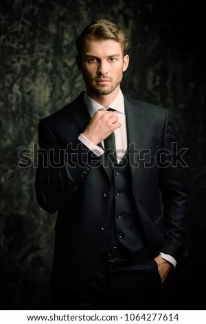 Portrait of a handsome man in an elegant suit on a grunge background. Studio shot.