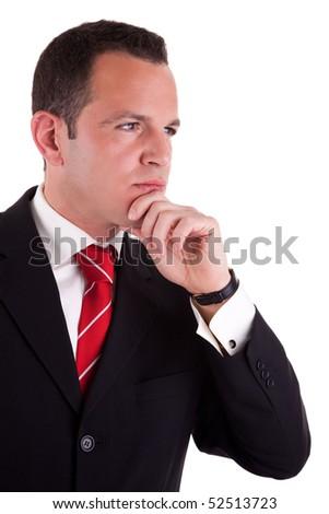 Portrait of a handsome  man thinking, on white background. Studio shot