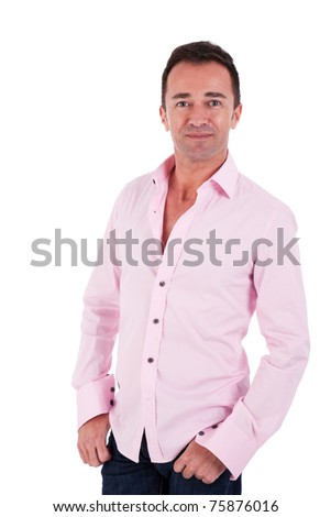 Portrait of a handsome middle-age man, on white background. Studio shot