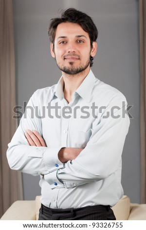 portrait of a handsome mixed race businessman