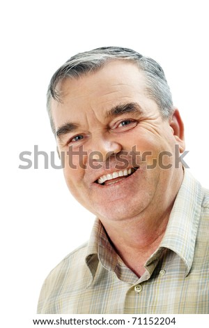 Portrait of a handsome older man looking at camera and smiling