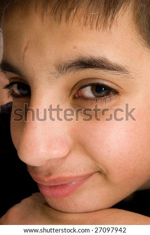 portrait of a handsome pakistan teenage boy - stock photo