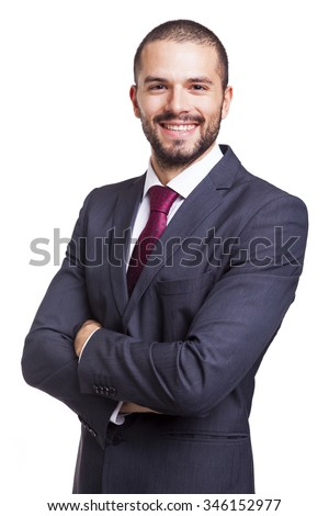 Portrait of a handsome smiling business man, isolated on white background