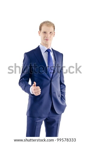 portrait of a handsome young business man standing isolated agai