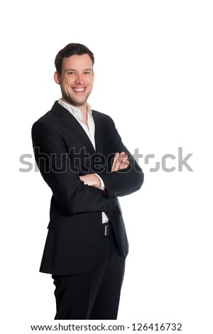 Portrait of a handsome young business man, studio photo isolated on white background