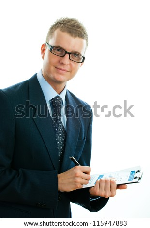 Portrait of a handsome young male entrepreneur showing thumbs up sign against white background