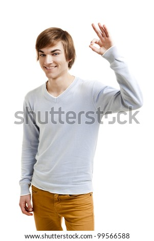 Portrait of a handsome young man doing a Okay gesture, isolated over a white background