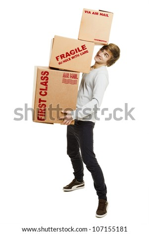 Portrait of a handsome young man holding card boxes, isolated on white - stock photo