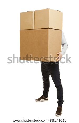 Portrait of a handsome young man holding card boxes, isolated on white