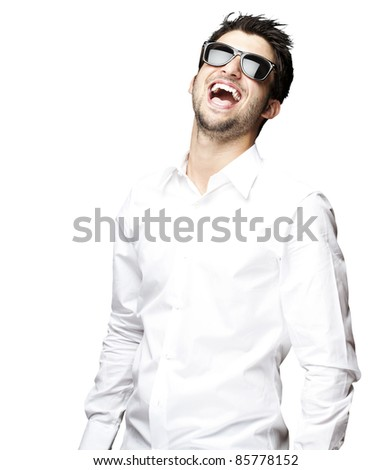 portrait of a handsome young man with sunglasses enjoying over white background