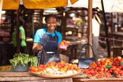 portrait of a happy african market woman in a local market
