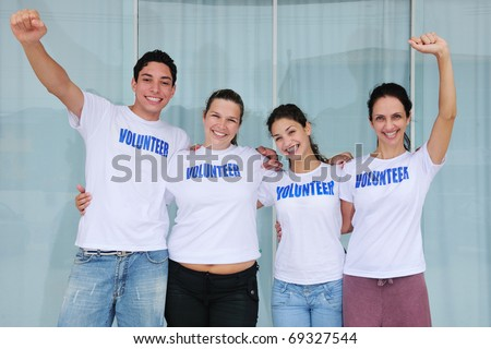 portrait of a happy and cheerful volunteer group