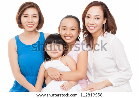 Portrait of a happy big family isolated against white background