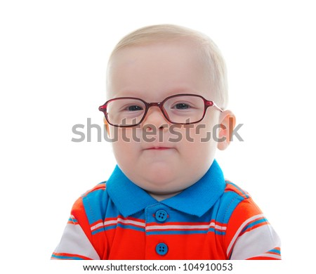 Portrait of a happy blue-eyed child boy with glasses. Isolated on white background