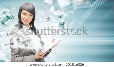 Portrait of a happy brunette woman with tablet computer - money appearing from the screen. Online commerce concept - stock photo