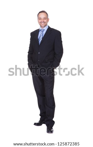 Portrait Of A Happy Business Man Isolated On White Background