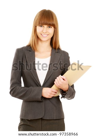 Portrait of a happy business woman holding a folder looking at camera Isolated on white background