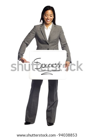 Portrait of a happy business woman holding a sign which say success on white background - stock photo