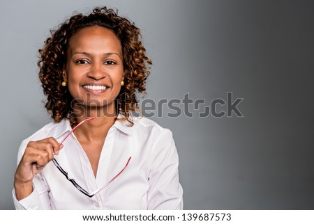 Portrait of a happy business woman smiling