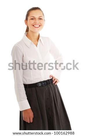 Portrait of a happy businesswoman standing #100162988