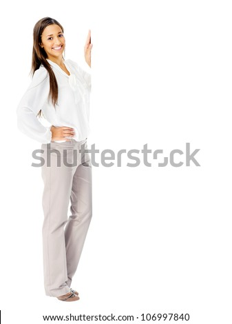 Portrait of a happy businesswoman with blank white board for advertising copyspace. isolated in studio