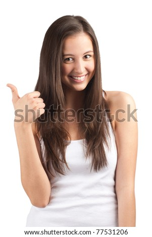 Portrait of a happy casual girl showing thumbs up and smiling, against white background