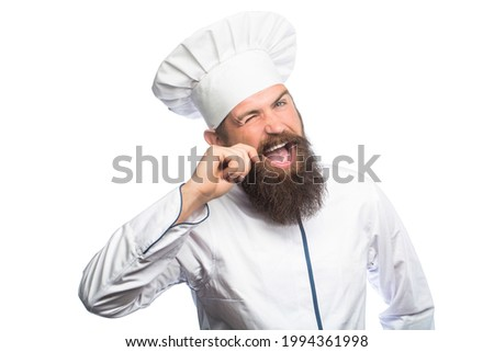 Portrait of a happy chef cook. Cook hat. Bearded chef, cooks or baker. Bearded male chefs isolated on white. Funny chef with beard cook. Beard man and moustache wearing bib apron. Nappy man.