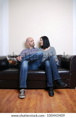 portrait of a happy couple on a couch