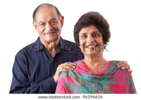 Portrait of a happy elderly East Indian couple