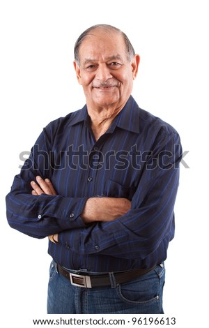Portrait of a happy elderly East Indian man