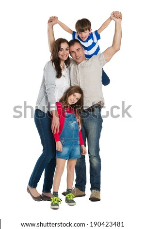Portrait Of A Happy Family Isolated On White Background