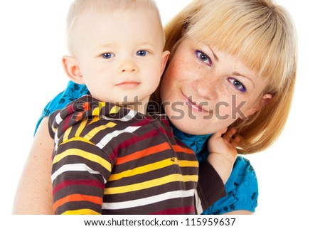 portrait of a happy family mother and little child