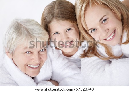 Portrait of a happy friendly family - stock photo