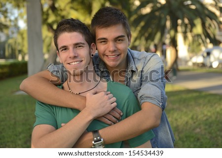 Portrait of a happy gay couple outdoors #154534439